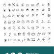 Large hand-drawn icons set for web applications — Vettoriali Stock