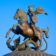 Statue of St. George, patron of Moscow, Manezh square, Moscow, Russia — Stock Photo