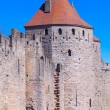 Walls and towers of famous medieval city, Carcassonne, France - Stock Photo