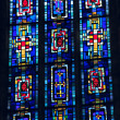 Stained glass of Church of the Jacobins, Toulouse, France - Stock Photo