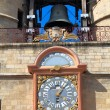 The Grosse Closhe belltower (13-15 ct.) and astronomical clock o - Stock Photo