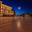 Night view of Regent hotel on the square of Grand Theater of Bor — Stock Photo