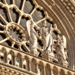 Staues above central entrance, Cathedral Notre Dame de Paris (1160-1345), Paris, France — Stock Photo