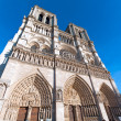 Wide-angle view of West facade, Cathedral Notre Dame de Paris (1160-1345), Paris, France — Stock Photo