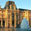 The Louvre Palace and  Pyramid before sunset, Paris, France — Stok fotoğraf