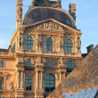 The Louvre Palace and  Pyramid before sunset, Paris, France — Stock fotografie