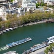 Tourist boat swimming Seine - aerial view from Eiffel Tower, Pa — Stock Photo