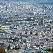 图库照片: La Cite island with Notre Dame de Paris - aerial view from Eiffel Tower, Paris, France