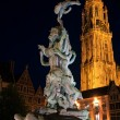 Brabo Fountain and Cathedral of Our Lady (1352-1521), Antwerp, Belgium — Stock Photo