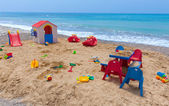Children playground on the cyprus beach — Stock Photo