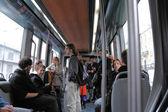 Inside tram in Bordeaux, France — Foto Stock
