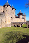 Walls and towers of famous medieval city, Carcassonne, France — Stock Photo