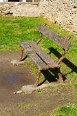 Original wooden bench inside Carcassonne, France — Stock Photo