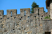 Wall of famous medieval city, Carcassonne, France — Stock Photo