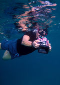 Free-diver with camera, Maldives — Stock Photo