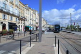 Modern tram on Quai Louis XVIII, Bordeaux, France — Stock Photo