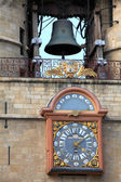 The Grosse Closhe belltower (13-15 ct.) and astronomical clock o — Stock Photo
