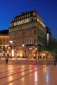Night view of Grand Theatre square and Conseil Interprofessionne — Stock Photo