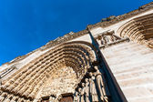 Stone carving of entrance of West facade, Cathedral Notre Dame de Paris (1160-1345), Paris, France — Stock Photo
