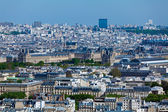 Louvre palace- aerial view from Eiffel Tower, Paris, France — Stock Photo
