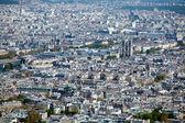 La Cite island with Notre Dame de Paris - aerial view from Eiffel Tower, Paris, France — Stock Photo
