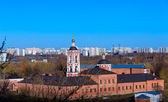 Aerial view of church and modern district, Chertanovo Yuzhnoe, M — Stock Photo