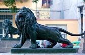 Paseo del prado, havana üzerinde aslan heykelleri — Stok fotoğraf