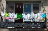 Fresh laundry on the balcony of old home, Havana, Cuba — Stock Photo