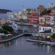 Lake Voulismeni evening scene, Agios Nikolaos, Crete — Stock Video
