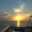 ストックビデオ: Catamaran, sailing to sunrise, Cuba