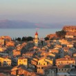 Aerial view from New fortress on the city with St. Spyridon church before sunset, Kerkyra, Corfu island, Greece — Stock Video