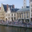 View of famous medieval quayside, Ghent, Belgium — Stock Video
