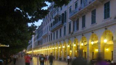 Time-lapse: Liston and old city at evening, Kerkyra, Corfu, Greece — Stock Video