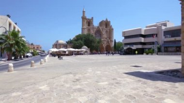 Lala Mustafa Pasha Mosque (St Nicolas Cathedral), Famagusta — Stock Video
