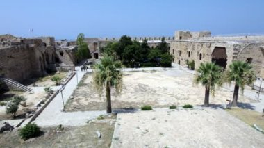 Inside Venetians Kyrenia Castle (16th c.), North Cyprus — Stock Video