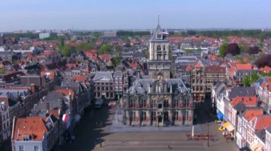 View from Nieuwe Kerk on Stadhuis, Delft, Netherlands — Stock Video