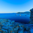 Aerial view from Old fortress on the marina with yachts, Kerkyra — Stock Photo #13210860