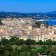 Aerial view from Old fortress on the city with New Fortress, Kerkyra, Corfu island, Greece — Stock Photo #13210869