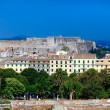 Aerial view from Old fortress on the city with New Fortress, Kerkyra, Corfu island, Greece — Stock Photo #13210999