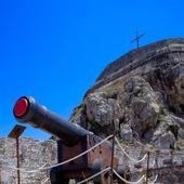 Antique Canon Inside old fortress, Kerkyra, Corfu island, Greece — Stock Photo