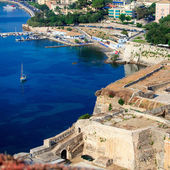 Aerial view from Old fortress on the marina with yachts, Kerkyra — Stock Photo