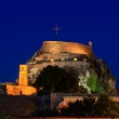 Evening view of illuminated Old fortress, Corfu island, Greece — Stock Photo #13249596