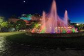 New Fortress and fountain at night, Kerkyra, Corfu island, Greec — Stock Photo