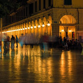 Liston, main promenade, at night, Corfu city, Greece — Stock Photo