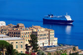 Enormous cargo ship near Corfu city, Greece — Stock Photo