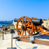 Antique Canon Inside old fortress, Kerkyra, Corfu island, Greece — Stock Photo
