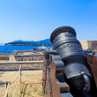 Antique Canon Inside old fortress, Kerkyra, Corfu island, Greece - Foto Stock