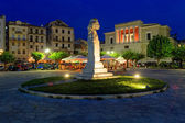 Typical buildings at night, Corfu city, Greece — Stock Photo