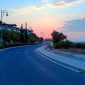 Sunset Szene mit Straße — Stockfoto