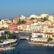 Aerial view of city Agios Nikolaos before sunset, Crete — Stock Video #13367352